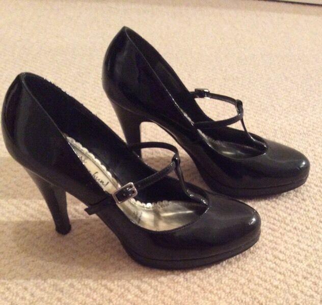 Black Patent T Bar Heels
