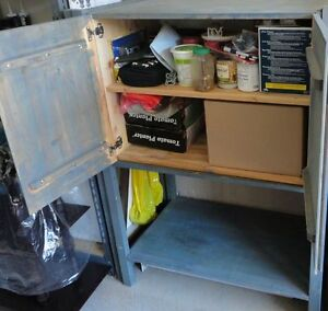 Solid wooden storage cabinet shelving unit