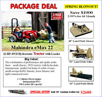Spring Blowout Compact tractor package