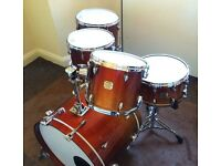 Yamaha maple custom absolute drum kit with snare
