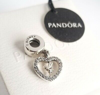 PANDORA DISNEY LOVE TINKER BELL GENUINE SILVER HEART DANGLE CHARM 791565CZ BOX Heart Silver Bell