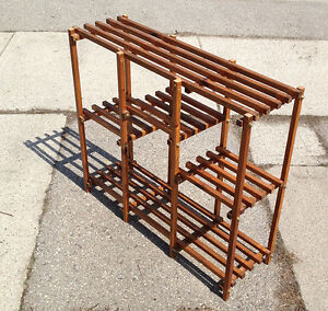 7 Tiered Wood Slatted Mid-Century Modern Stand
