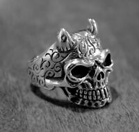 Massive horned skull ring with hand engraving