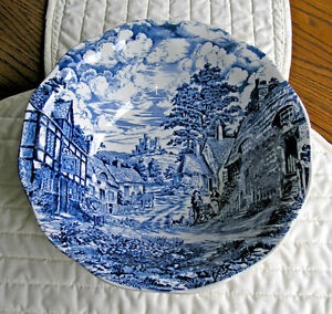 Wedgwood Blue Transfer Bowl (Old English Village)