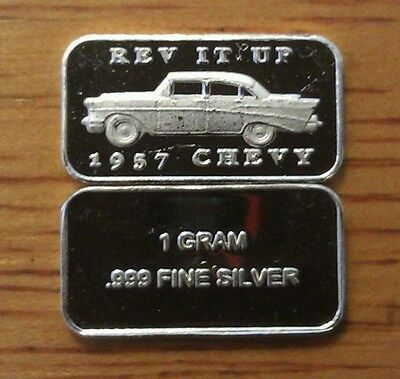 ONE 1 GRAM .999 PURE SOLID SILVER 1957 CHEVY BULLION BAR on Rummage