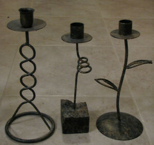 Black Candle Stick Holders with Gold Speckles London Ontario image 3