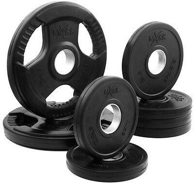 XMark 45 lb. Rubber Coated Olympic Weight Plate Set XM-3377-BAL-45 NEW