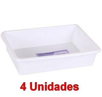 4 Unidades de Cubeta bandeja Rectangular capacidad 2 Litros, Blanca, 26 x...