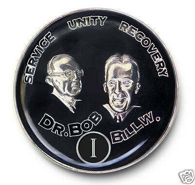 Bill & Bob AA Anniversary Recovery Coin/Medallion YRS 1-40 & 18 mos Silver & Blk