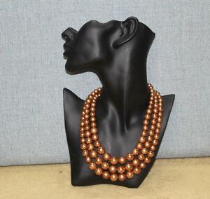 Vintage 3 strand faux pearl necklace rich gold color