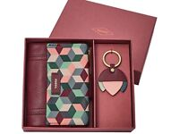 Fossil Leather Purse And Key ring gift set brand new
