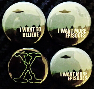 "X-Files Revival 1"" Button Set I Want To Believe Truth is Out There SET OF 4 PINS"