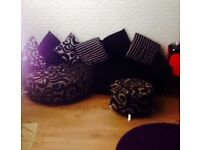 Dfs sofa and swivel chair and puff