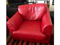 Red leather 2 seat sofa and chair
