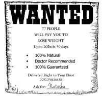WANTED - Will Pay You to Lose Weight!