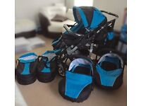 Double/twin buggy with 2 car seats