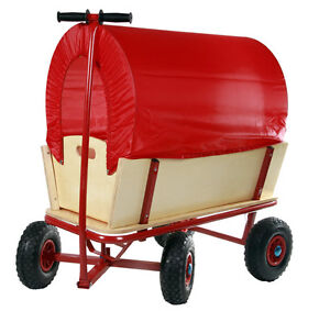 Classic Red Covered Wagon Pull Along Cart Garden Removable Cover Child Toy NEW