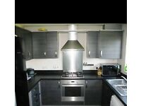 Grey kitchen cabinet and work top, with appliances