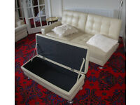Sofa bed bedsettee oatmeal white