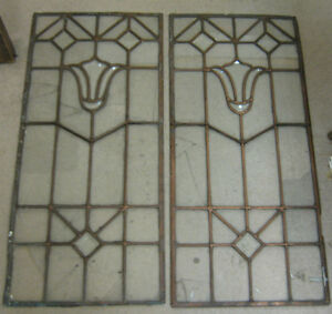 Pair of Vintage Glass Copper Leaded Windows