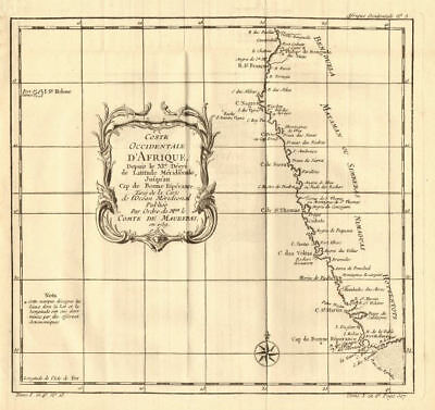 'Coste Occidentale d'Afrique…' South Africa Namibia. BELLIN 1758 old map