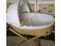 John Lewis moses basket, stand and mattress