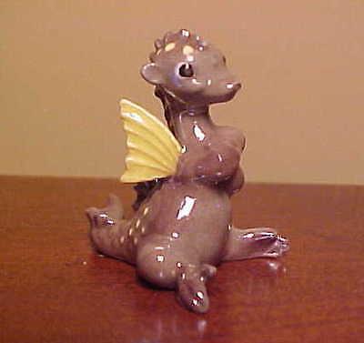 Hagen-Renaker Mini #892-1 GREEN DRAGON WITH WINGS ~ Miniature Ceramic Figurine