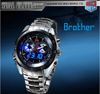 TVG Army Military Sports Watch Dual Movement LED Watch