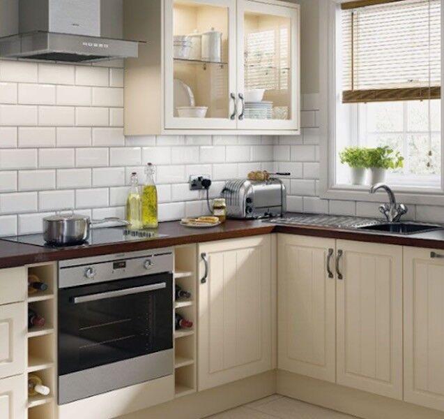 Homebase Kitchen Furniture | Simply Hygena Homebase Chesham Cream 3 X 300mm Units 1 Wall