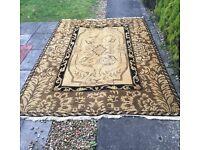Beige gold ground Chinese design wool rug