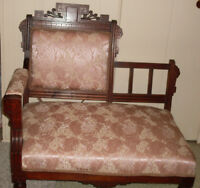 Antique 1880 Eastlake Mahogany Settee
