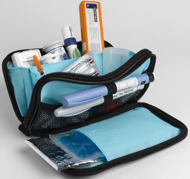 Diabetikertasche Nylon mit Kühlelement Tasche für Diabetiker schwarz/türkis NEU