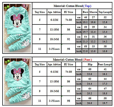 Kids Minnie Mouse Outfit (2pcs Baby Girls Minnie Mouse Hoodie Tops +Pants Kid Winter Outfits Set)