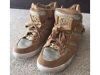 MK Michael Kors sneakers hightops tan gold genuine authentic trainers
