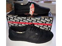 New with tags: Vans Authentic Leather Black Mono shoes