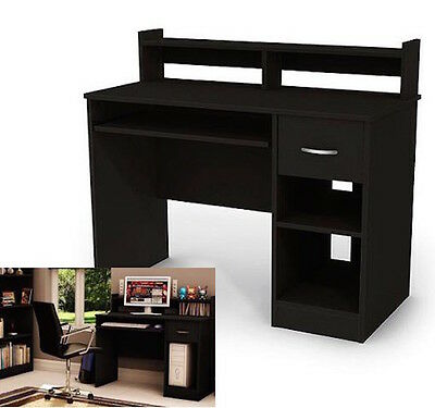 Student Computer Desk Black Wood Table Home Office Workstation Furniture  NEW