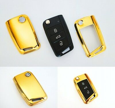VW Golf 7 VII MK7 Key Cover Case Skin Shell Cap Fob Protection Bag Gold