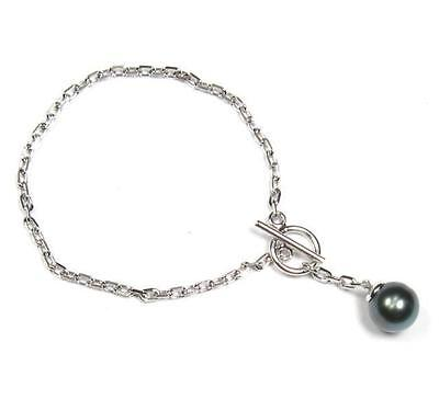 "7"" Sterling Silver 10-11mm Tahitian Black Pearl Chain Bracelet"