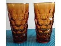 2 Amber DRINKING GLASSES heavy tumblers retro