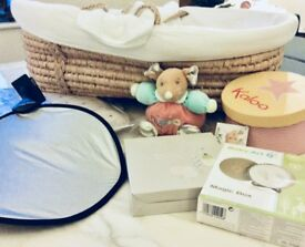 Welcome baby pack with Moses Basket, pink changing mat, soft toy, print foot kit and sunshade