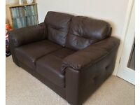 Faux leather dark brown 2 seater sofa