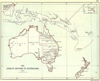 ANGLICAN CHURCH DIOCESES IN AUSTRALASIA. Australia New Zealand Hawaii 1897 map