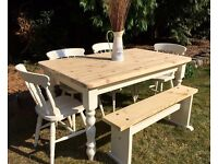 Pine Farmhouse Table, Chairs & Bench