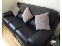 Oberon black leather reclining 3 seater sofa