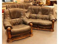 Brown Leather sofa & matching chairs