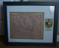 Antique and Rare 1896 Map of MANITOBAH - FRAMED!