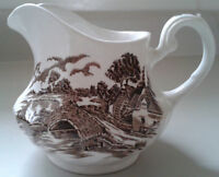 Vintage Ridgway Staffordshire Brown 1792 Country Days Creamer