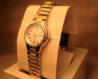 New SEIKO $269 Watch Womens SWZ147 Twotone DayDate WaterR French