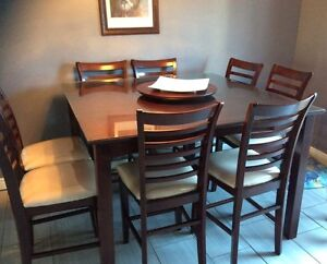 Solid wood Bar height table with 8 chairs