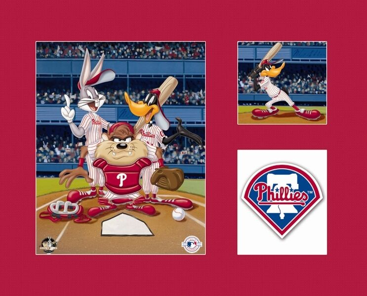 Looney Tunes Philadelphia PHILLIES Bugs Taz Daffy Baseball Litho Art Red Mat